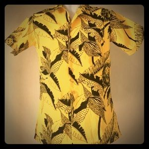 Retro Yellow Jungle Lion Button Down